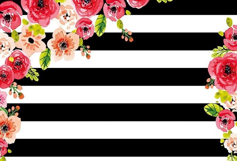 R4812 18 De Desconto7x5ft Desenhos Animados Flores Cor De Rosa Ramo Branco Preto Listras Parede Personalizado Foto Fundo Estúdio Pano De Fundo