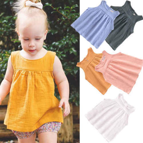 Toddlers Kids Baby Girls Solid T-shirt Tops Dress Sleeveless Tank Outfits Clothes Set