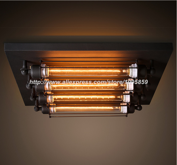 Industrial Vintage Square Punk Ceiling Light L Bar Restaurant Retro Flush  Mount Lighting In Ceiling Lights From Lights U0026 Lighting On Aliexpress.com  ...