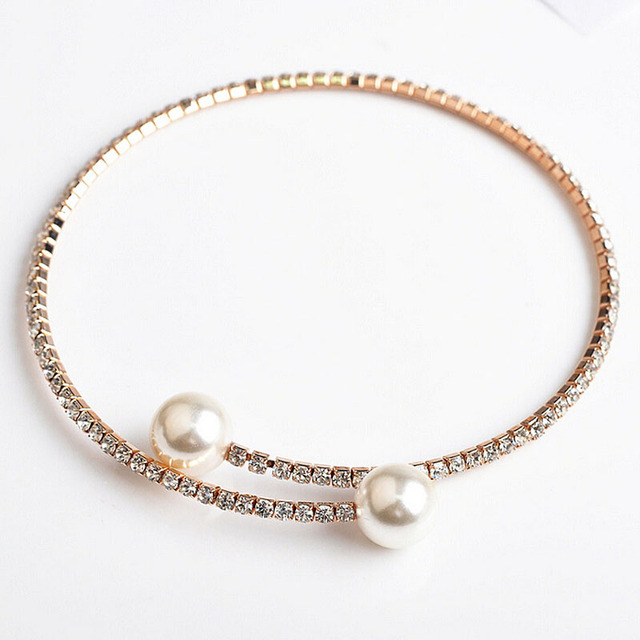 2015 New  Rose Gold Plated Inlaid Rhinestone Simulated Pearl Necklace For Women Fashion Jewelry