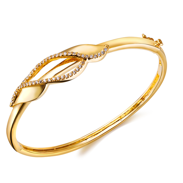 Bohemian Jewelry Woman Sweet Look  Bangles Lover Jewelry Brass Bracelet bangles All CZ Stone 18k Gold and Platinum Plated