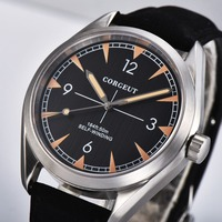 41mm Corgeut clock men Black Dial Stainless steel Case Sapphire crystal Black strap Automatic mens Watc
