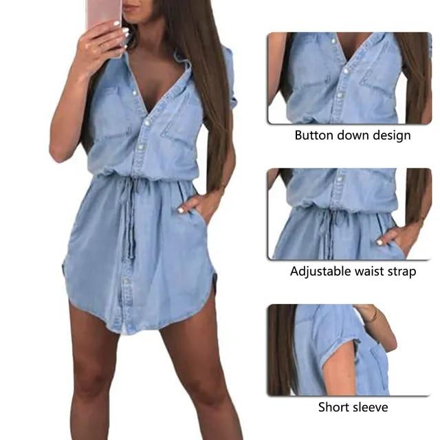 HEFLASHOR Short Sleeve Shirt Dress Women 2019 Fashion Faux Dress Ladies Casual High Waist Lace Up Dress Summer Office Ladies