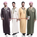 (Tamanho M para 3XL) Novo verde, café, bege, amarelo manga Comprida de Poliéster/algodão Misturado fios de homens Jubbah homens thobe Abaya árabe saudita