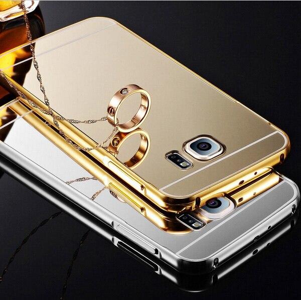 S6 bord Miroir Coque Couverture Arrière + Métal Alliage Frontière Cas Pour Samsung  Galaxy S6  ea5ef5fc47a0