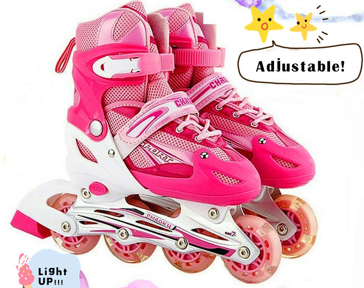 ADULT AND CHILDREN ADJUSTABLE LIGHTING INLINE SKATE ROLLERS (ALL WHEELS  LIGHT UP), FLASHED ROLLERBLADE, ADJUSTABLE SHOE SIZE In Skate Shoes From  Sports ...