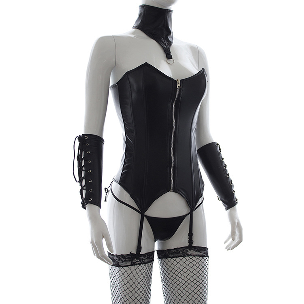 Chastity Belt Leather Basm Bondage Restraint Costume PVC Bodysuit Zipper Neck Cover Handcuffs Waistband T pants Set For Women in Adult Games from Beauty Health