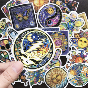 Image 3 - AQK 25PC/Lot Colorful Sun Moon Wishing World Peace Stickers Boho Style Bohemian Sticker For Skateboard Luggage Laptop Guitar Car