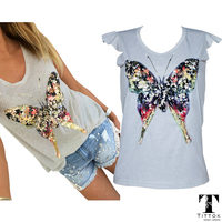 Bling Bling Sequined 3D Butterfly V Neck Petal Sleeve Camisetas Mujer Casual Tee Shirt Women Tops