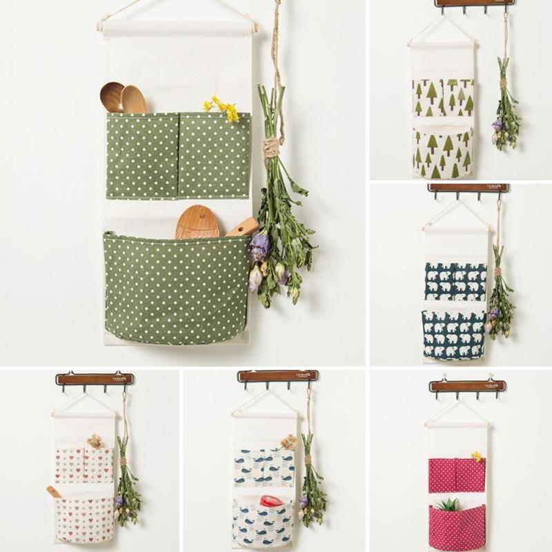 Wall Mounted 2 Pocket Storage Bags Cotton Linen Wardrobe Hang Bag Wall Pouch Cosmetic Toys Organizer Stationery Pouch G30