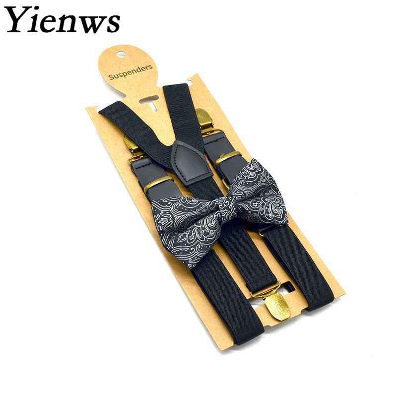 e03e1a964 Yienws Bow Tie and Suspenders for Men Black Leather Suspenders for Pants  Male Trouser Strap Bretels
