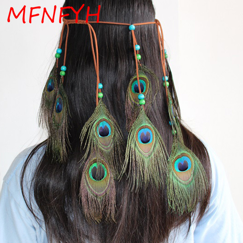MFNFYH Indian Peacock Feather Headbands for Women Girls Long Tassel Beads Headdress Rope Head Chain Hair Jewelry Accessories