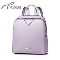 NUCELLE Women Split Leather Backpack Fashion Elegant Leather Travel Brief Female Backpack Ladies School Shoulder Bag