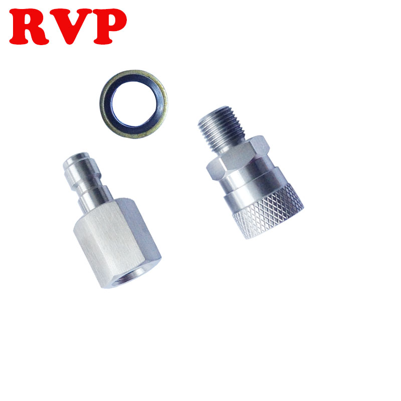 Free Shipping PCP Paintball Female Thread Plug 18/BSPP Stainless Steel Male Quick Connect With Seal Washers 3pcs/set