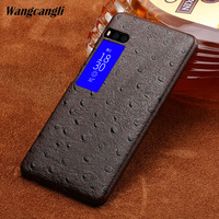 Wangcangli Custom made Ostrich Texture Genuine leather phone case for Meizu Pro 7 Half pack phone case phone protection case