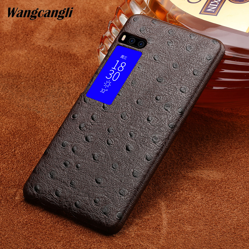 Wangcangli Custom made Ostrich Texture Genuine leather phone case for Meizu Pro 7 Half-pack phone case phone protection case