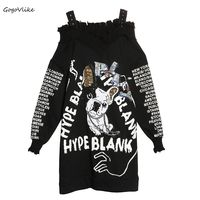 Black Sequined Dog Print Sweatershirt Dress 2018 Spring Cotton Irregular Spaghetti Straps Clothing Off Shoulder LT250S50