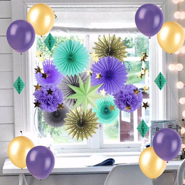 Purple Wedding Decorations Set Paper Pom Fans And Balloons Party Decor For Baby Shower Birthday