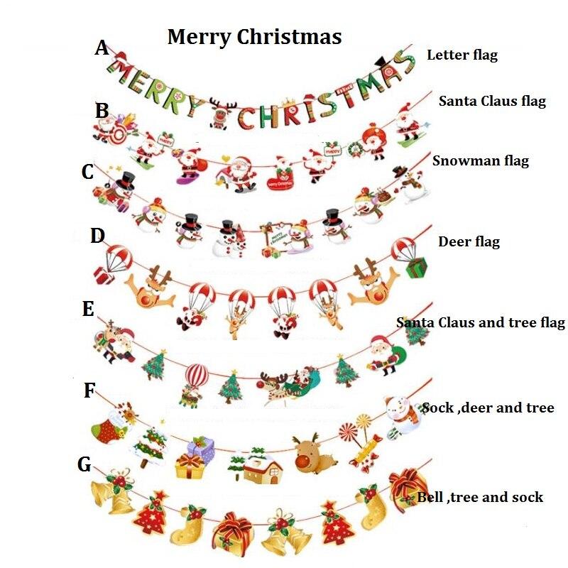 Рождество украшение для дома Санта Клаус цепочку для двери Вешалки елка Бумага висит для рождественской вечеринки украшения