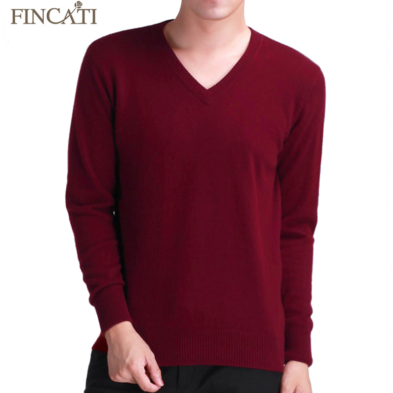 2018 Men's Autumn Winter Casual Cashmere Blend Knitted Sweater V Neck Men Pullover Warm Soft Long Sleeve Knitwear Sweaters Tops
