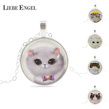 2016 Newest Sweet Cat Glass Cabochon Pendants Necklaces Handmade Silver Plated Chains Choker Necklaces for Women Best Jewelry