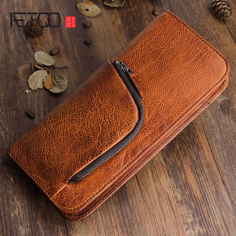 AETOO Original retro first layer of leather long wallet multi function zipper leather handbags young men