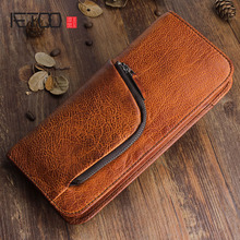 AETOO Original retro first layer of leather long wallet multi-function zipper leather handbags young men and women Vintage aetoo original retro wrinkled leather vertical wallet men s short paragraph the first layer of leather wallet zipper small card