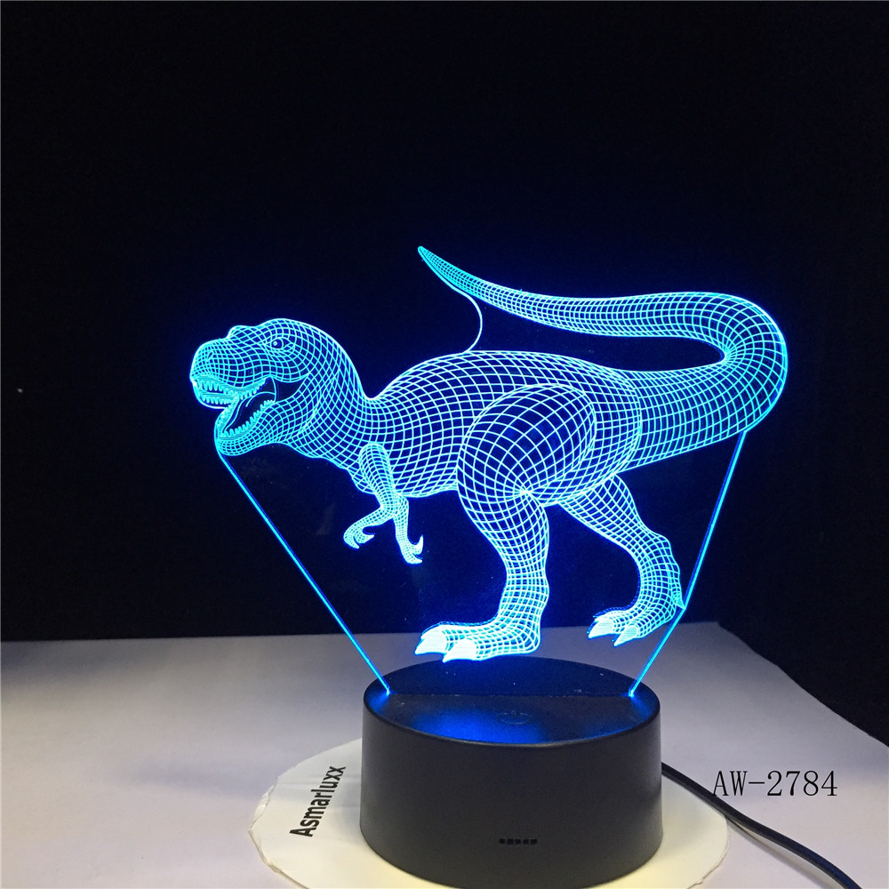 Led Lamps Led Night Lights Strict Dinosaur 7 Colors Led Bulb Decoration Animal Night Light Nightlight Table Lamp New 3d Illusion Boys Gifts Dropship Gx-2784