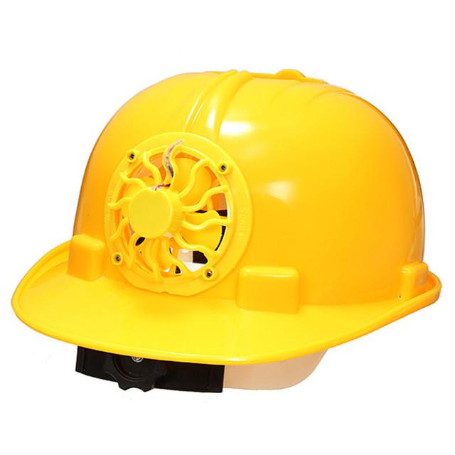 0.3 W Energía Solar Casco de Seguridad PE Duro Ventilar Sombrero Gorra con Ventilador Cool Amarillo