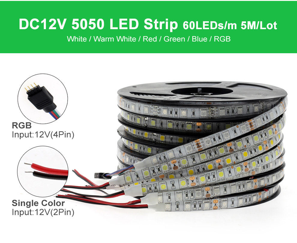 HTB1ZyuKPH2pK1RjSZFsq6yNlXXaB RGB LED Strip Light 5050 2835 DC12V Neon Ribbon Waterproof Flexible LED Diode Tape 60LEDs/m 5M 12V LED Strip for Home Decoration