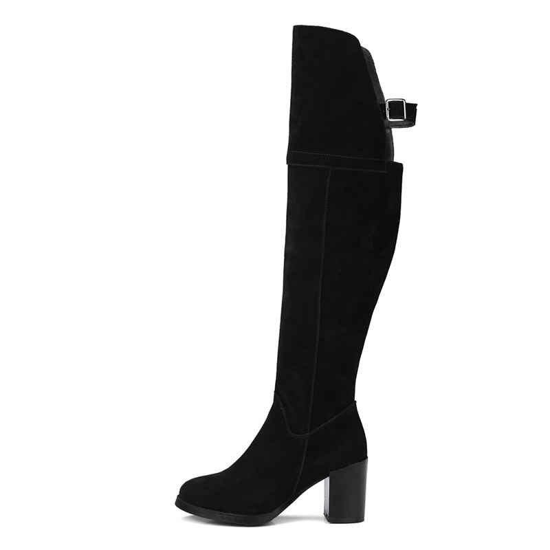 MORAZORA 2018 yeni sonbahar kış diz kadın botları seksi yuvarlak ayak yüksek topuk moda çizmeler fermuar inek süet deri çizmeler