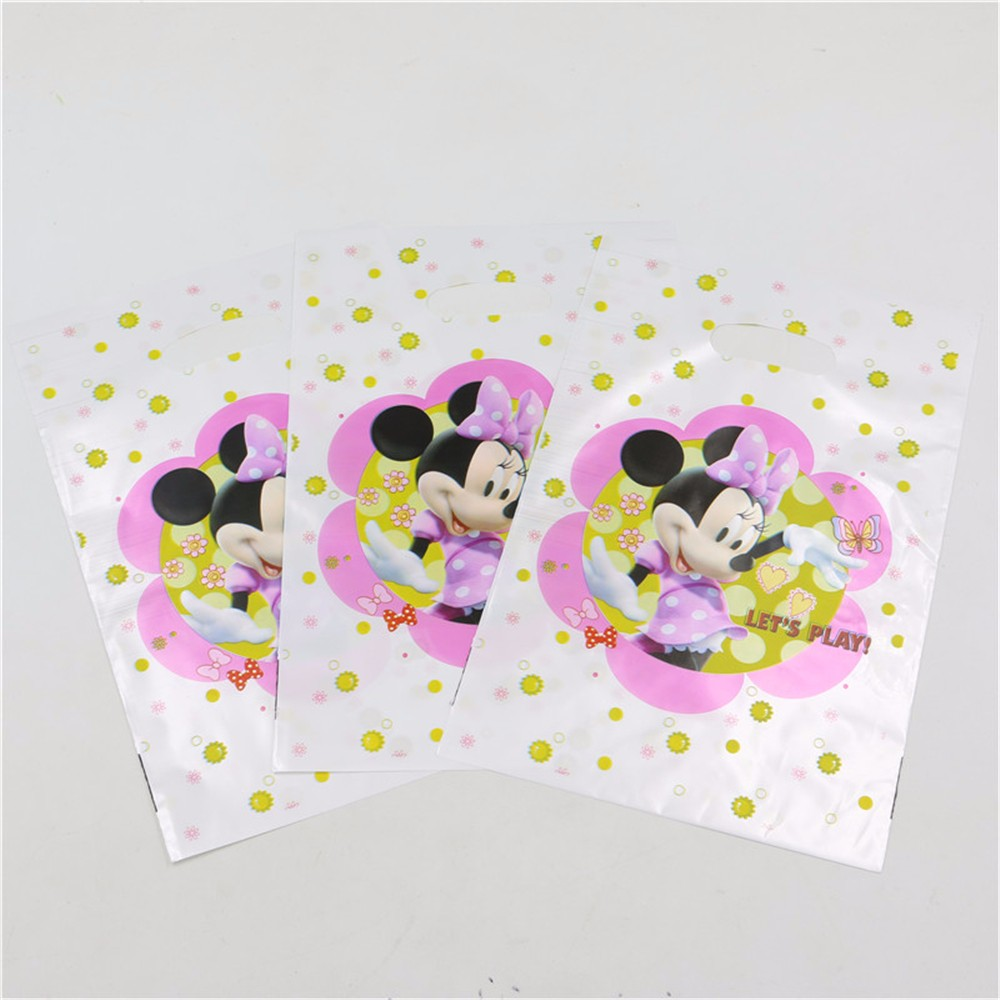 10pcs/lot Loot Bag Gift Bag Cartoon Minnie Mouse theme Boy Girl Happy Birthday Party Decoration party supplies for Kids