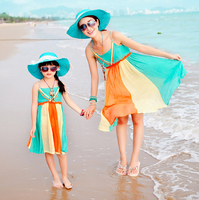 Mother Daughter Matching Dresses 2016 Summer Style Beach Dress Family Look Girl And Mother Vacation Dress