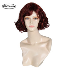 Nya Ankomst Korta Bob Hair Parykar Värmebeständiga Syntetiska Vintage Black Women's Wine Red Curly Parykar med Side Bangs