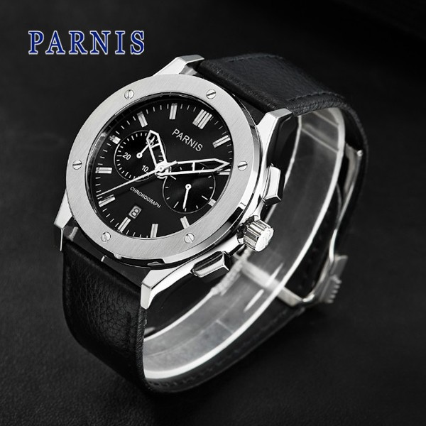 2016 Hot Sale Parnis 41mm PVD Case Chronograph Movement Men s Watch free shipping Quartz Wristwatch