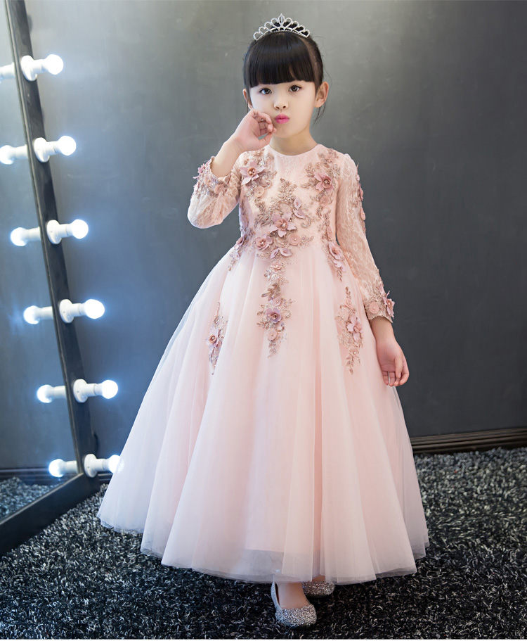 KICCOLY New Elegant Girl Pink Lace Long Sleeve Dress Child First Communion Dress Baby Girl Formal Wedding Dress Flower Girl Gown shein eyelet crochet lace detail frill trim dress 2018 summer round neck butterfly sleeve dress women pink elegant ruffle dress
