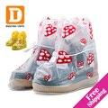 Crianças Sapatos da moda Cobre Novo 2017 Crianças À Prova D' Água Da Tampa Da Sapata Botas de chuva De Plástico Bebê Sapato Chuva Cobre para meninas EUR 25-34