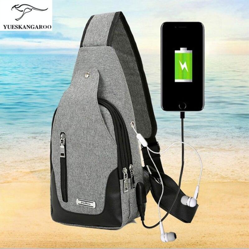 Multifunction USB charging man shoulder chest chest Bag Mens leisure bag fashion Satchel Oxford waterproof cloth