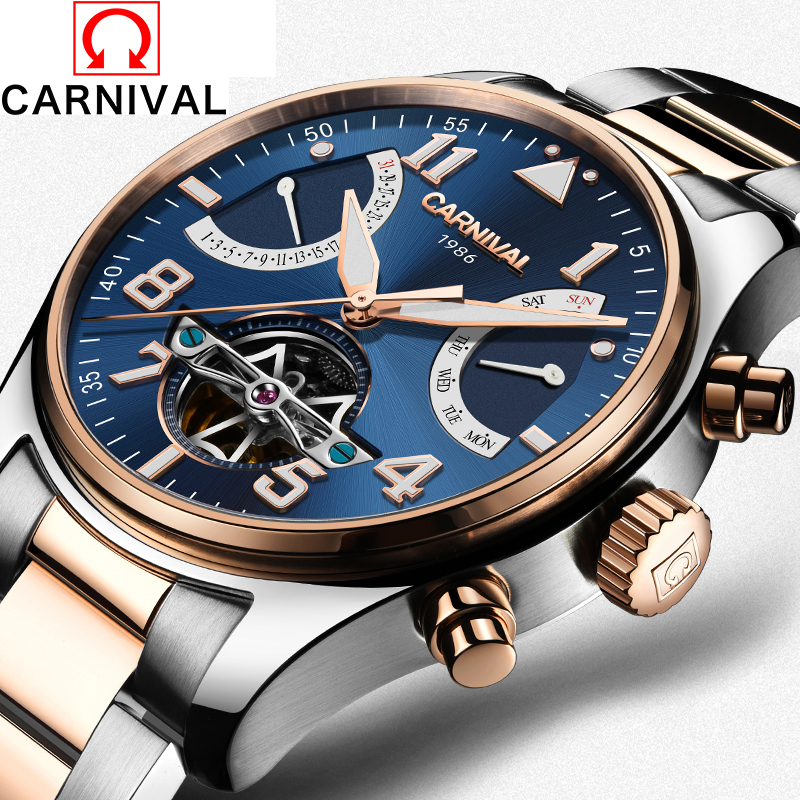 Classic Tourbillon Wrap Mens Watches Top Brand Luxury CARNIVAL Automatic Watch Golden Case Calendar Male Clock Mechanical Watch mce sports mens watches top brand luxury genuine leather automatic mechanical men watch classic male clocks high quality watch