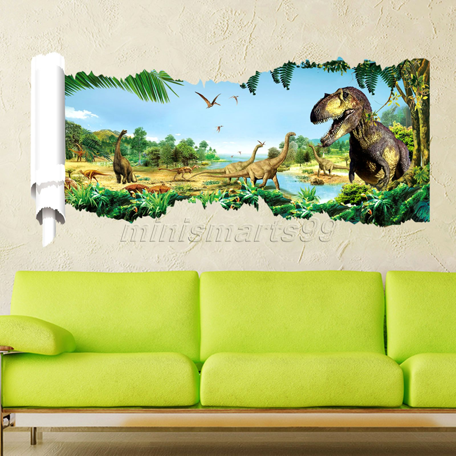 3d Through Dinosaur Wall Stickers Decals for Kids Rooms ...