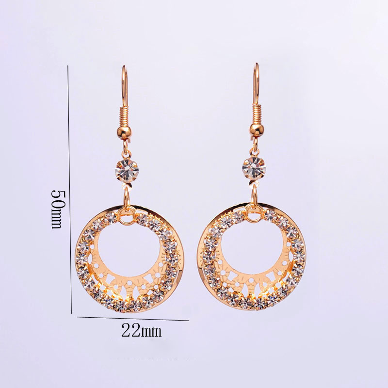 Gold-color Wedding Jewelry Sets Round Shaped Jewelry Elegant Engagement Earring + Pendant Necklace for Female Accessories 5