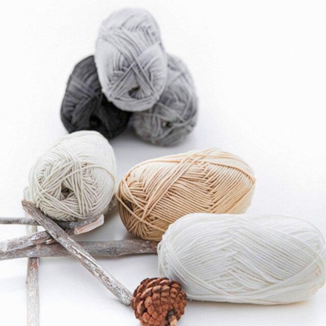 Lana de algodón 50 colores 4 hilos hilo de bebé DIY tejido suéter ...
