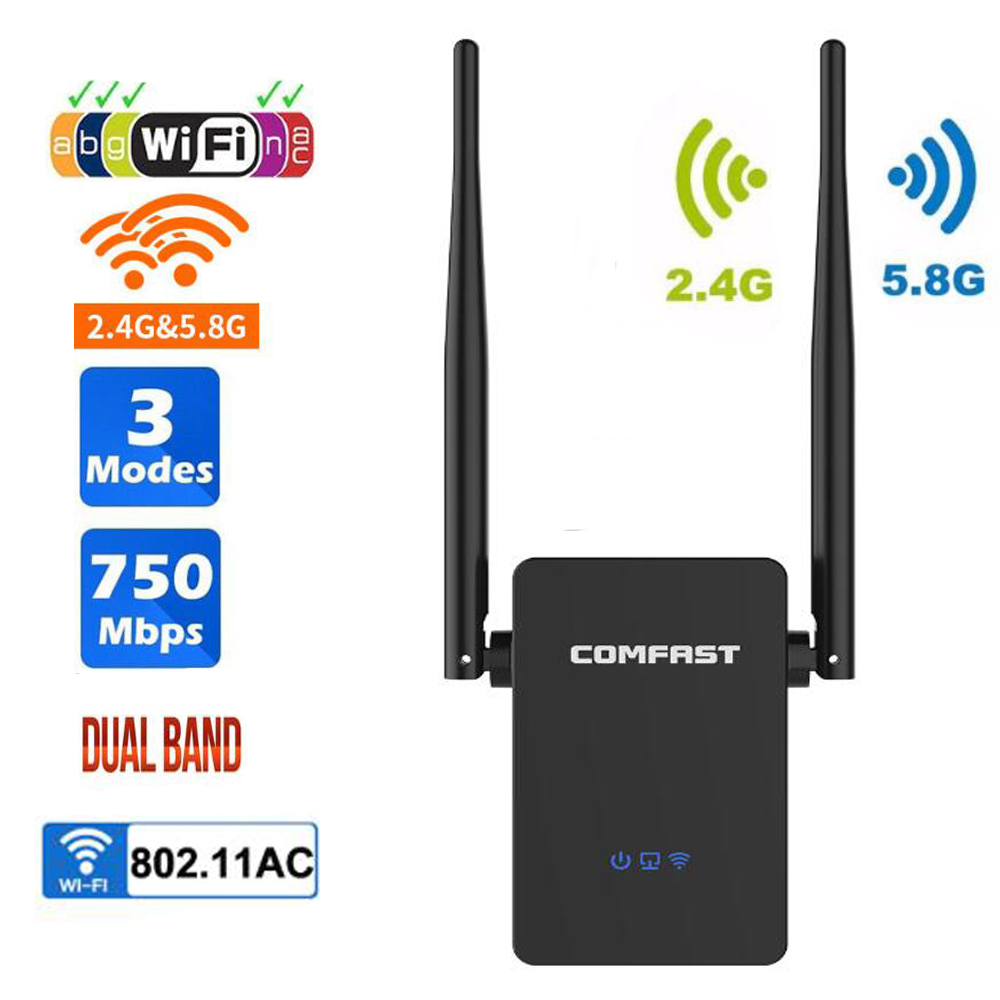 Wifi-Extender Signal-Amplifier Dual-Band Long-Range Repeater/router 750mbps-Wifi Wireless