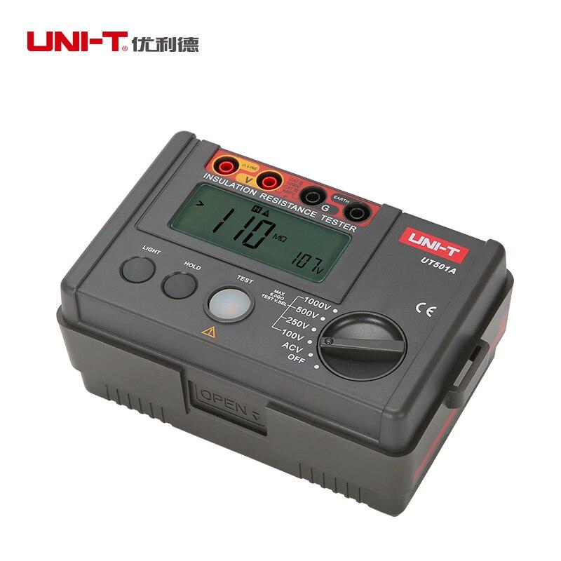 UNI-T UT501A 100V--1000V megger Insulation earth ground resistance meter Tester Megohmmeter Voltmeter w/LCD Backlight Display