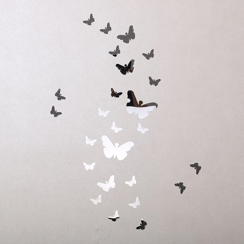 25 unids venta caliente 3d pegatinas de pared espejo mariposa decoración sala pe
