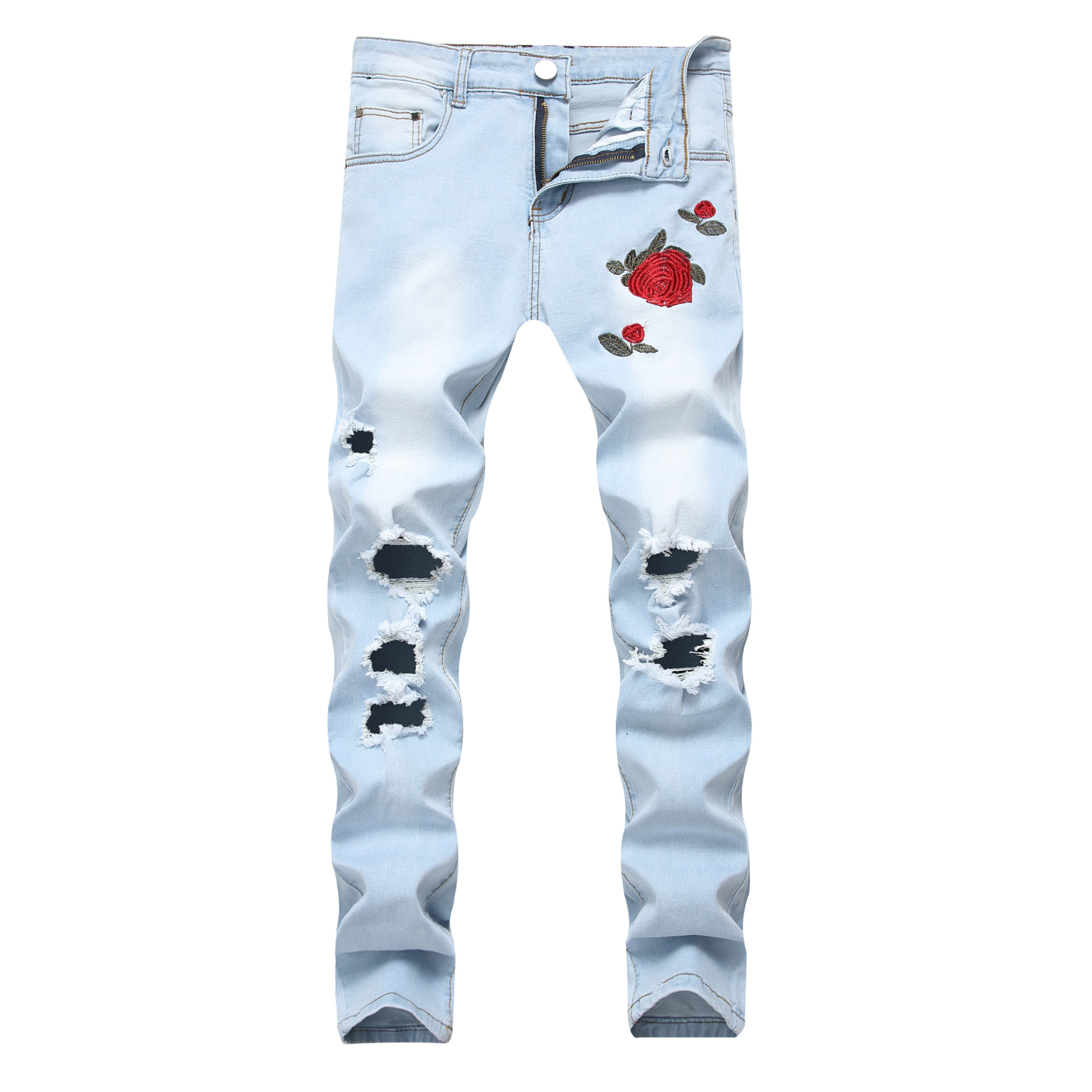 Elastic Trousers Rose-Jeans Long-Pants Streetwear Slim Men's Fashionable New-Arrival