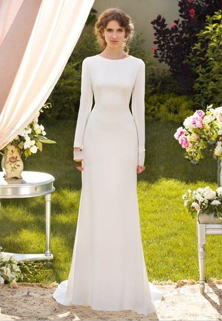Simple boho Wedding Dresses 2017 Long Sleeves o neck backless long ...