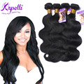 Perruque cheveux humain extensão do cabelo virgem Indiano da onda Do Corpo 8A feixes de Cabelo humano tece 4 Pacotes/lote Onda Do Corpo feixes