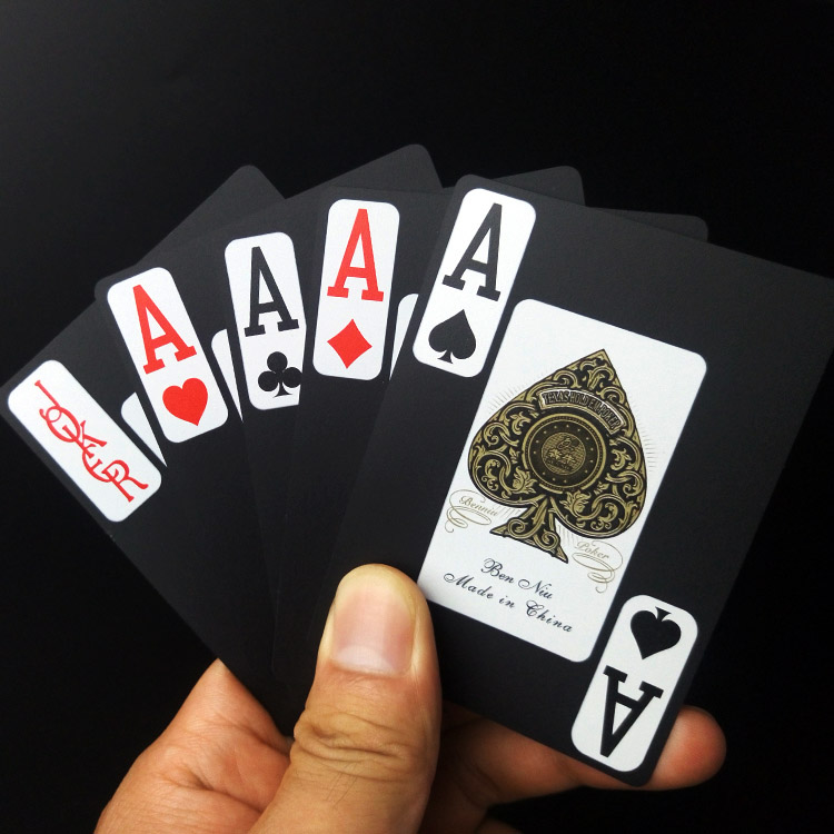 1pcs Black Plastic Card PVC Waterproof Poker Magic Double Frosted Characters Playing Cards