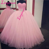 Linyixun Pink Ball Gown Quinceanera Dresses 2018 Beaded vestidos de 15 anos Sweet 16 Dresses Debutante Gowns Dress For 15 Years